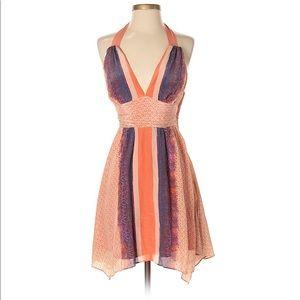 Guess Halter Orange/Navy Snakeskin Silk Dress